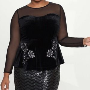 Eloquii Velvet Peplum Top with Faux Leather Detail